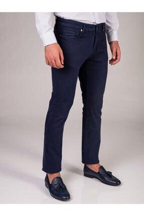 Dufy Lacivert Düz Likralı 5cep Erkek Pantolon - Regular Fit