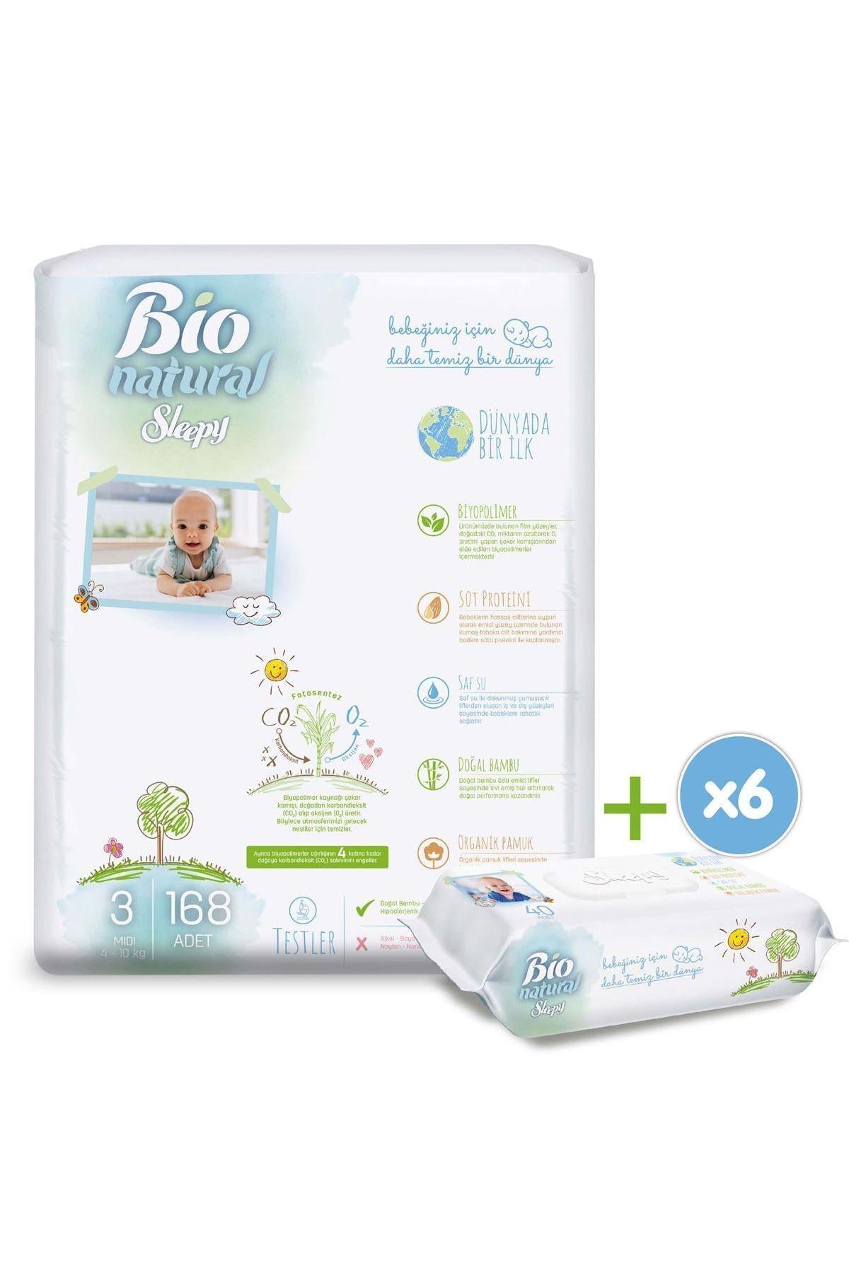 Sleepy Bio Natural Bebek Bezi 3 Numara Midi 168 Adet + 6x40 Bio Natural Islak Havlu 2