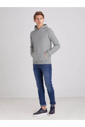 Dufy Erkek Gri Melanj Içi Polarlı Kapüşonlu Slım Fıt Sweatshirt