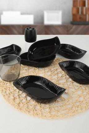 Keramika Siyah Yaprak Çerezlik / Sosluk 17 Cm 6 Adet