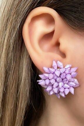 TAKIŞTIR Mor Renk Çiçek Figürlü Taşlı Küpe (çift)