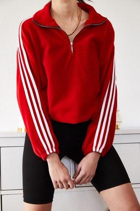 XENA Kadın Kırmızı Şeritli Fermuarlı Polar Sweatshirt 1KZK8-11139-04
