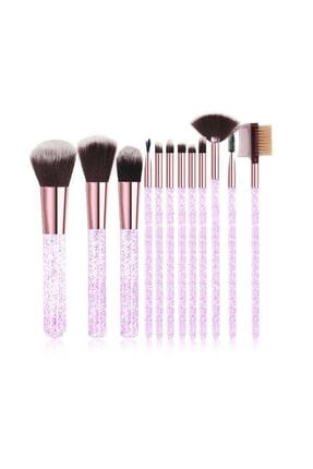 Makeuptime Pembe Simli Silindir 12'li Fırça Seti