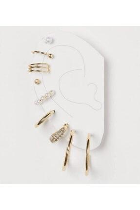 PETEK AKSESUAR Kadın Çoklu Kıkırdak Incili Taşlı Küpe Set Altın