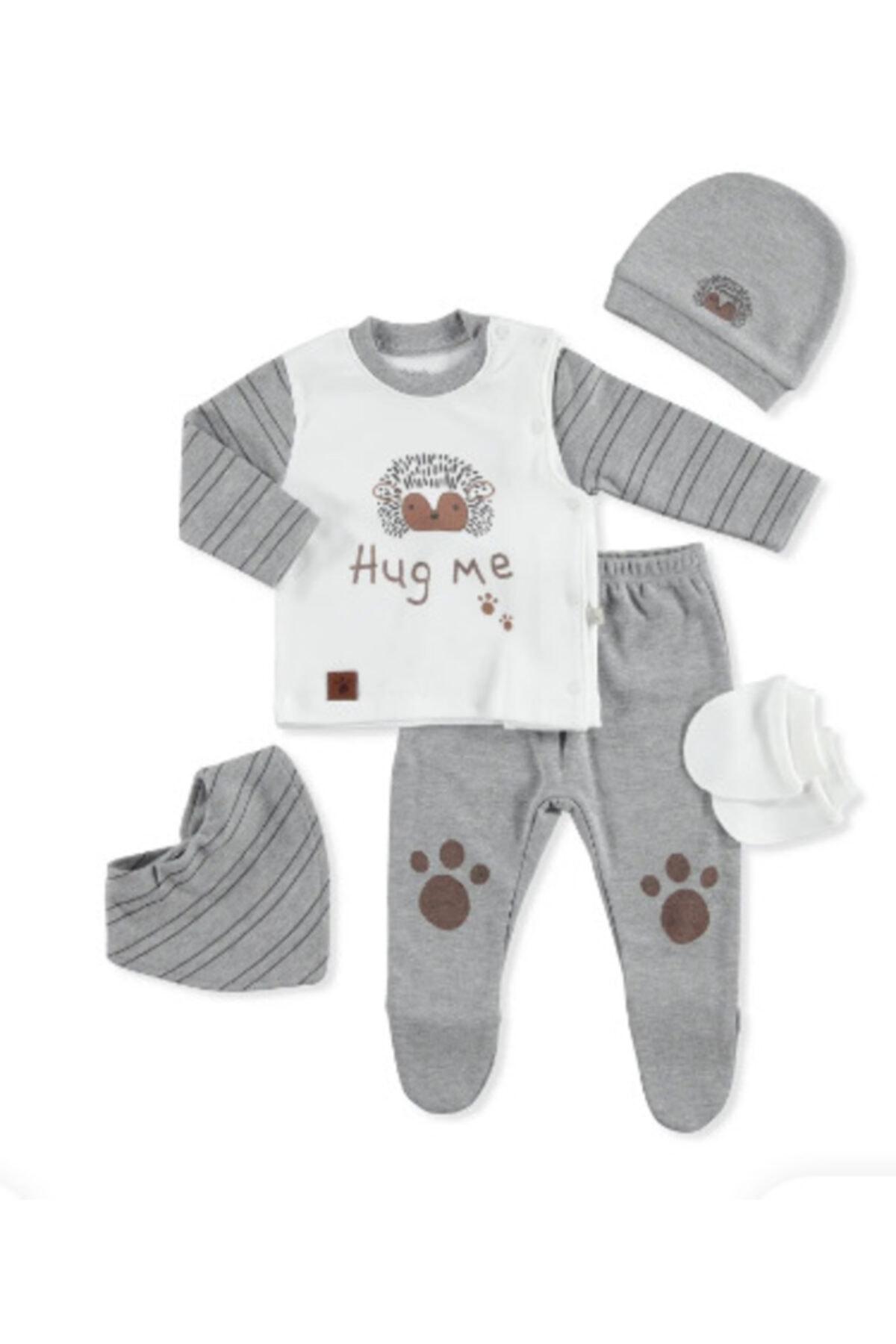 Bebbek Erkek Bebek Gri Hug Me 5li Hastane Çıkışı 1