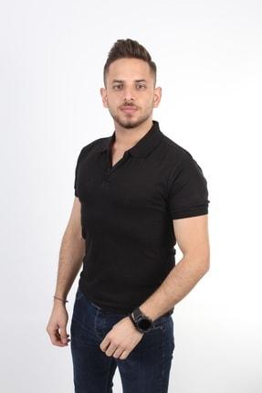 TREND YAŞAR Erkek Siyah Yakalı Pamuklu Kısa Kollu Slim Fit T-shirt
