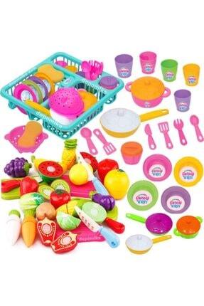 DEDE Frozen Oyuncak Bulaşıklık Tabak Tencere Set + 22 Parça Kesilebilen Oyuncak Meyve Sebze Set Depomiks