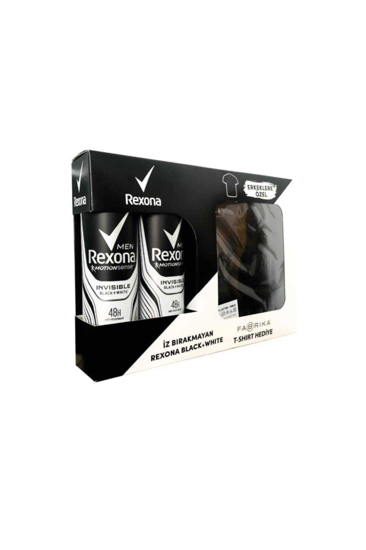 Rexona Men Invisible Black + White Anti-perspirant Deodorant 2 X 150 Ml Adet Fabrika T-shirt Hediyel 1