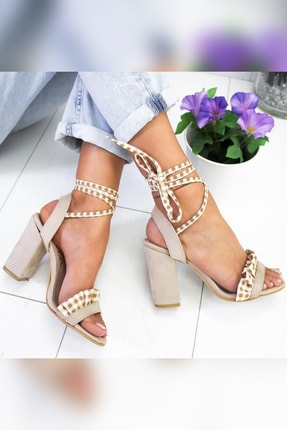 Limoya Kadın Ten Süet Fırfırlı Bilekten Bağlamalı Kalın Topuklu Ayakkabı