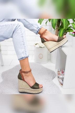 Limoya Kadın Haki Süet Dolgu Topuklu Ayakkabı