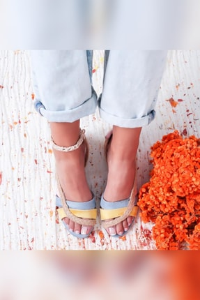 Limoya Kadın Bebe Mavi Pudra Gerçek Hasır Detaylı Hasır Alçak Ökçeli Topuklu Ayakkabı