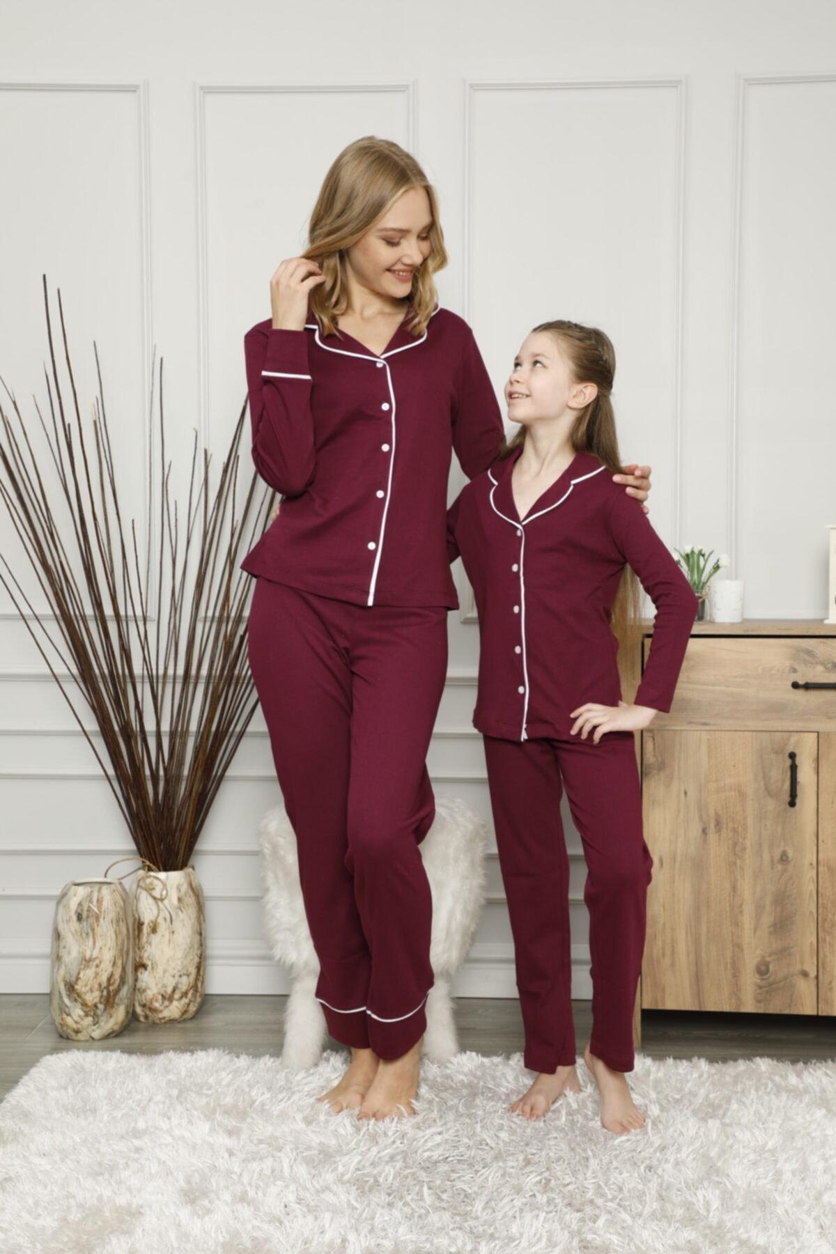 KILIÇ TEKSTİL Anne Kız Interlok Kumaş Pijama Takımı Kombini 2