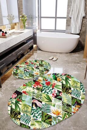 Dekolia Kaymaz Tabanlı, Makinede Yıkanabilir, Ikili Dekoratif Banyo Paspası Çiçek Bahçesi