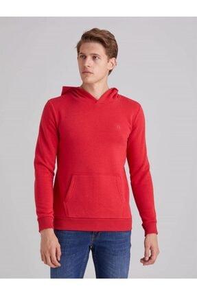Dufy Kırmızı Içi Polarlı Kapüşonlu Erkek Sweatshırt - Modern Fıt