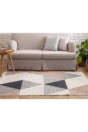 English Home Beyaz - Ten - Siyah Triangle Pamuklu Kilim 120x180 cm