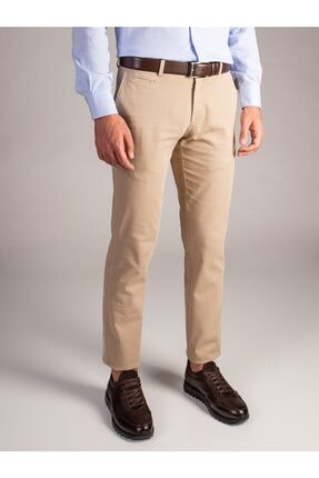 Dufy Erkek Bej Düz Pantolon - Regular Fit