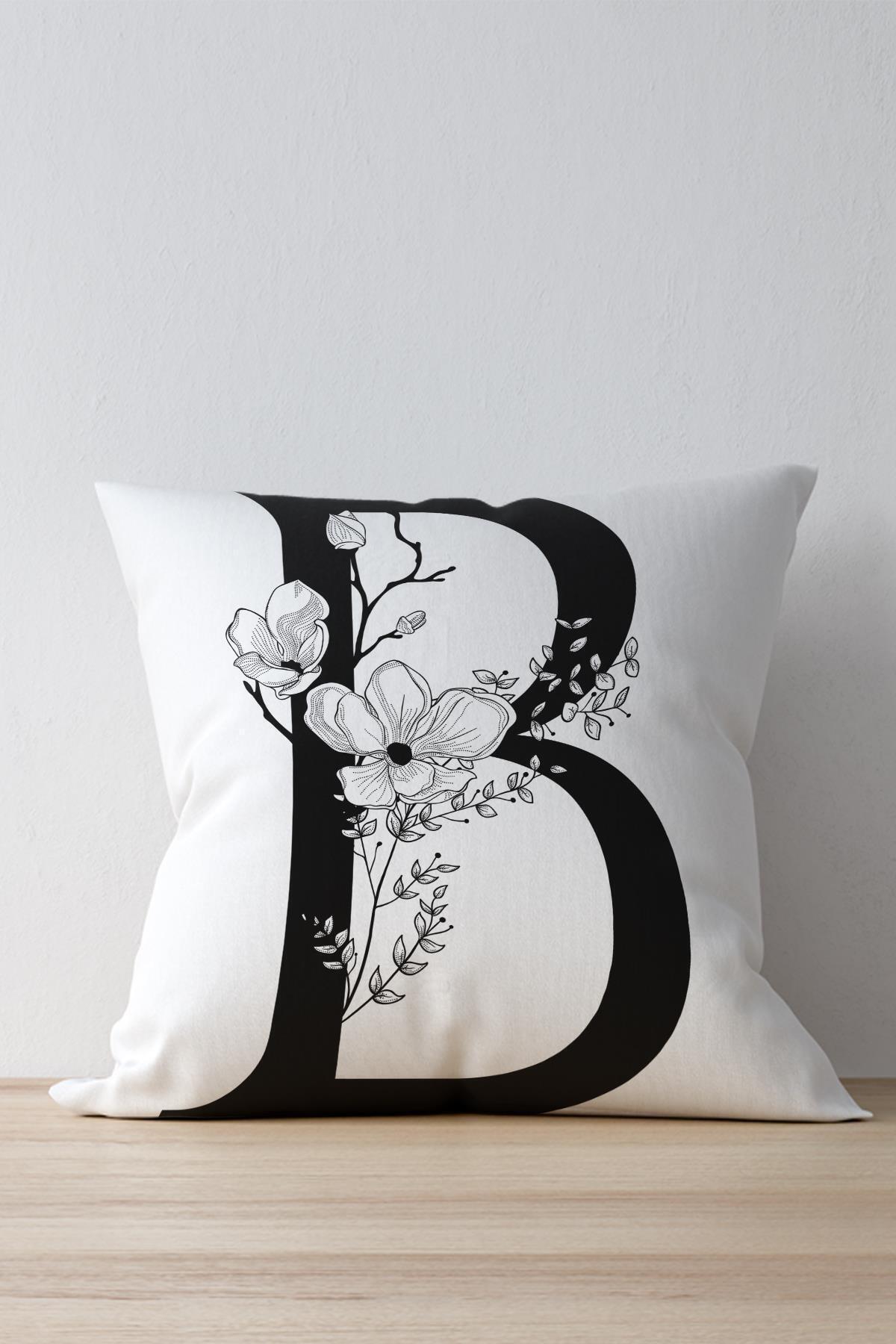 Dekolia Beyaz B Harfi Dekoratif Kırlent Yastık Kılıfı  Dkwhm3001 1