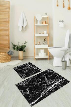 Dekolia Kaymaz Tabanlı, Makinede Yıkanabilir, Ikili Dekoratif Banyo Paspası Siyah Mermer