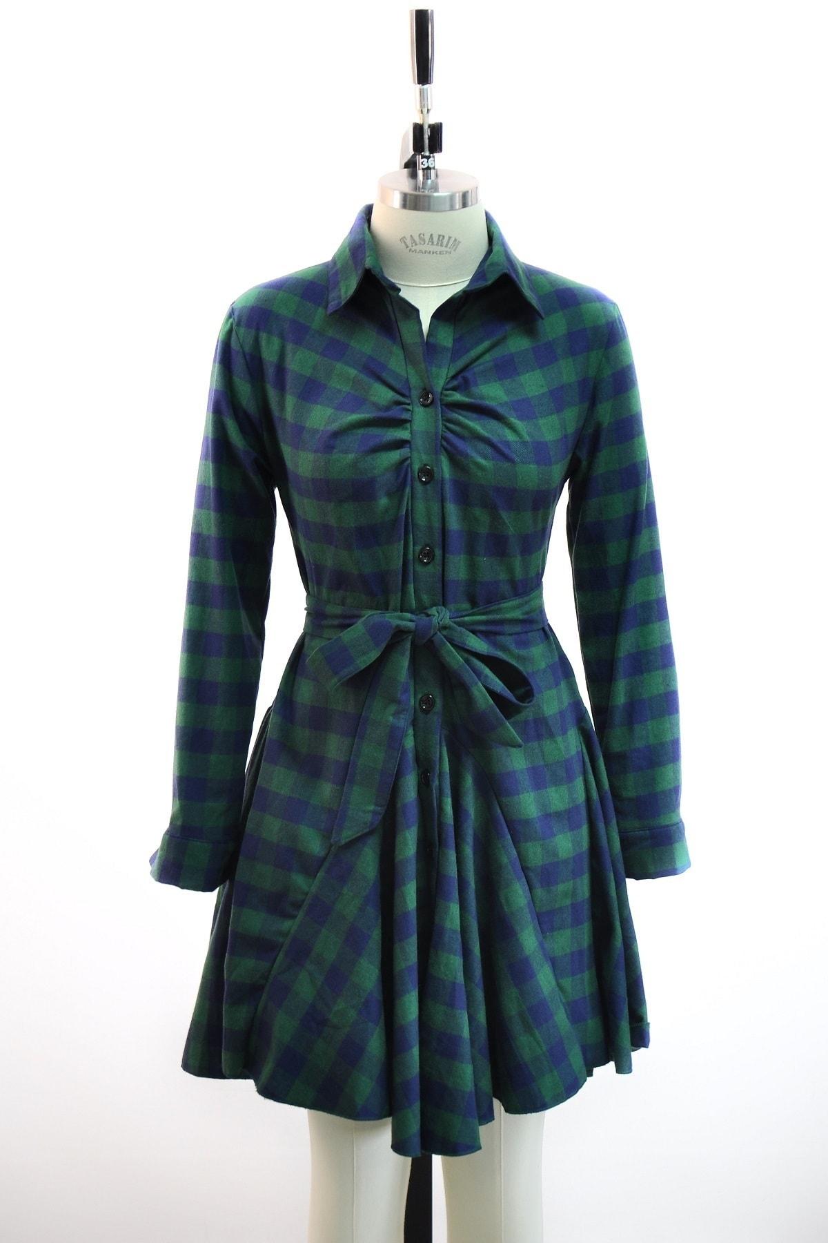lovebox Ekose Desenli Mavi Yeşil Gömlek Elbise Günlük Tunik Gömlek 1