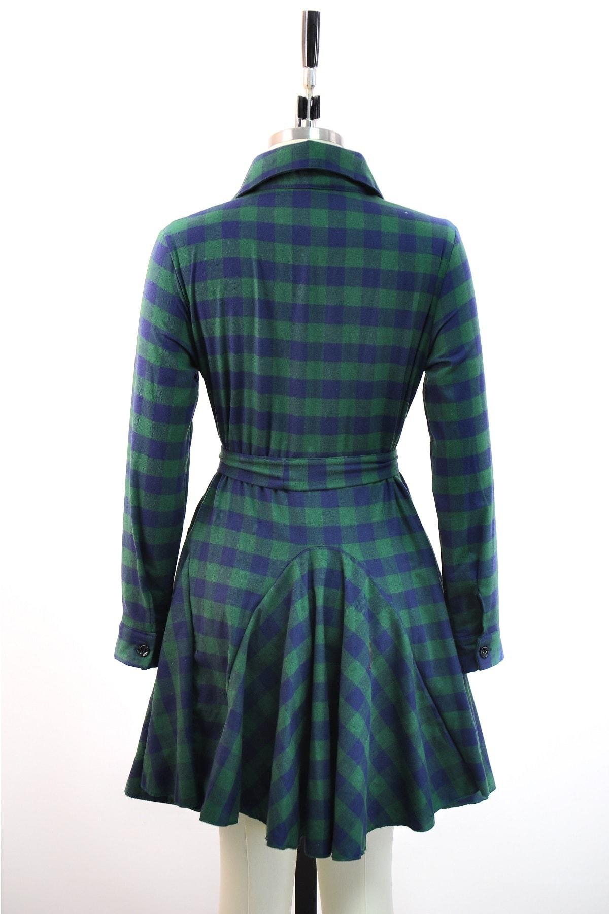lovebox Ekose Desenli Mavi Yeşil Gömlek Elbise Günlük Tunik Gömlek 2