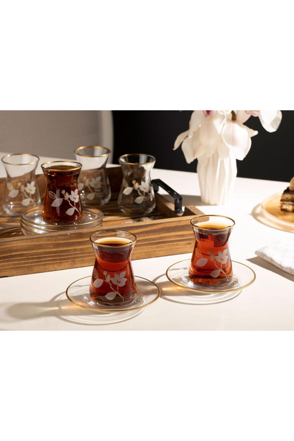 English Home Şeffaf Bahar Dalı Cam 12 Parça Çay Seti 130 ml 1