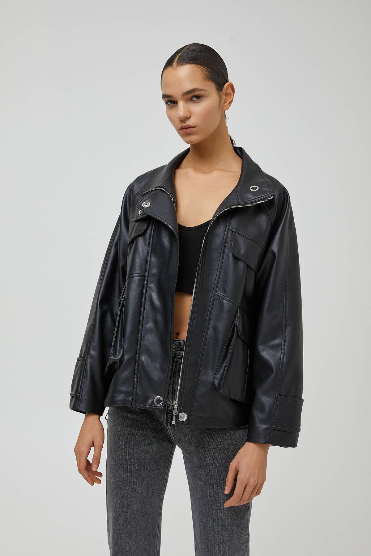 Pull & Bear Kadın Siyah Suni Deri Safari Ceket 1