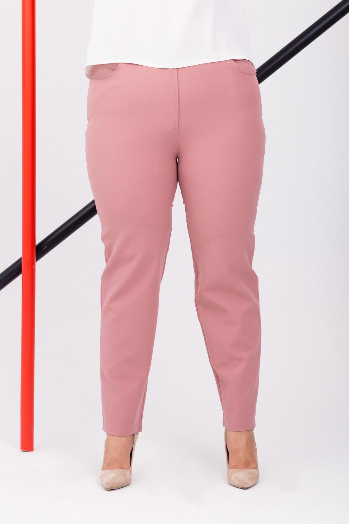 Lafaba Kadın Pudra Büyük Beden Pantolon 1