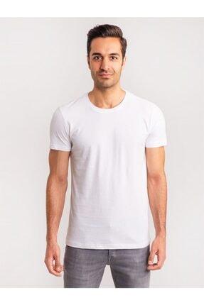 Dufy Beyaz Pamuklu Fırçalı Süprem Erkek T-shırt - Modern Fıt