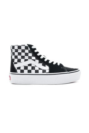 Vans Checkerboard Sk8-Hi Platform 2.0 Siyah - Beyaz Kadın Sneaker