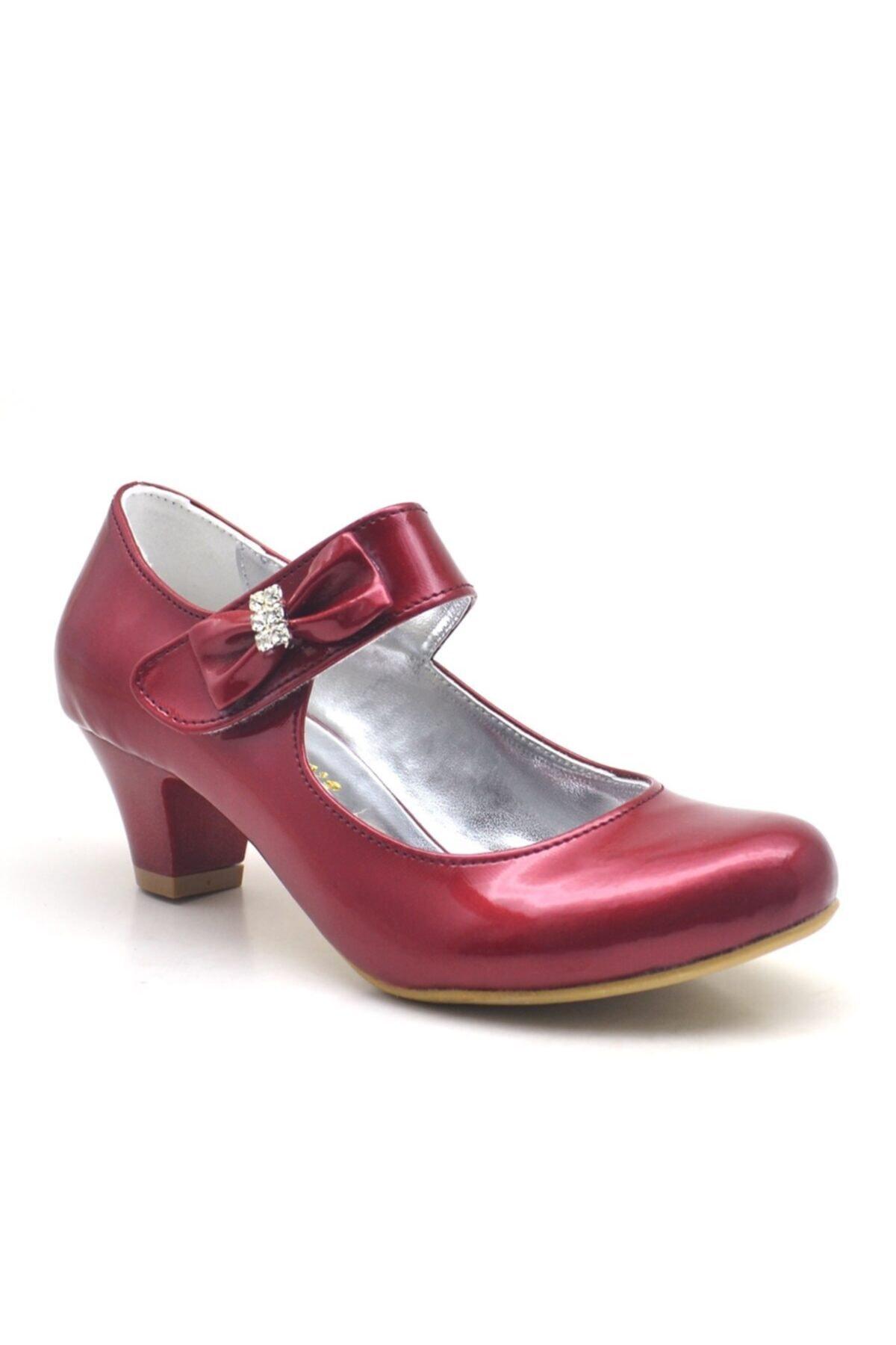 Sarıkaya Bordo Rugan Taşlı Kırmızı Topuklu Kız Çocuk Abiye Ayakkabı 1