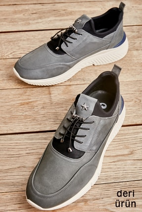 Bambi Gri Nubuk Erkek Sneaker L1556005601
