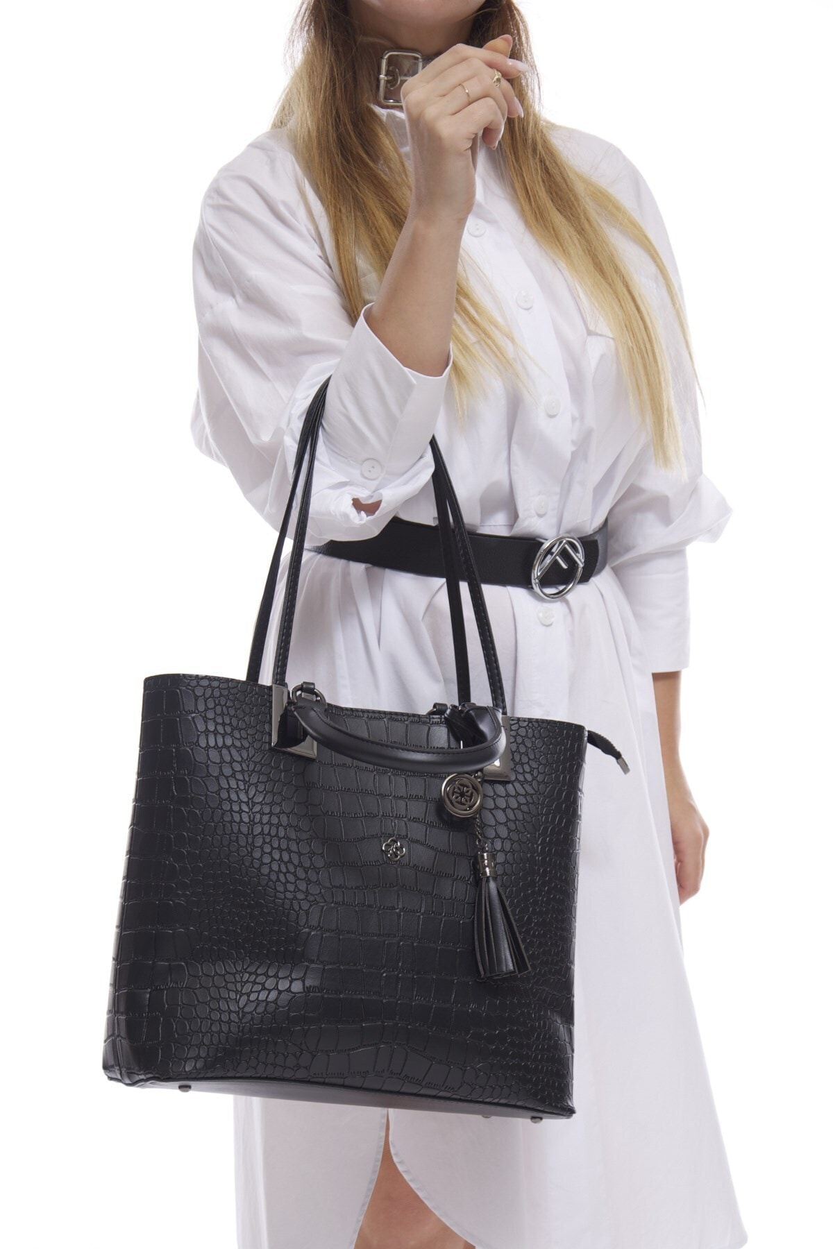 Fume London Siyah Kroko Deri Kadın 3 Bölmeli Askılı El Ve Omuz Çantası Fb3054 2