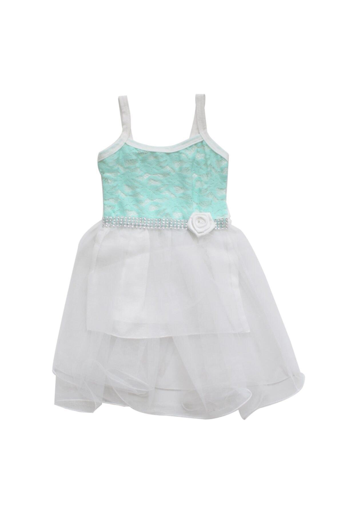 bebegen Yeşil Çiçekli Beyaz Tüllü Kız Bebek Elbise 1