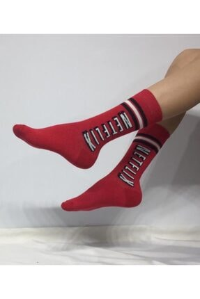 ADEL ÇORAP Unisex Netflix Yazılı Kırmızı Soket (Uzun) Çorap