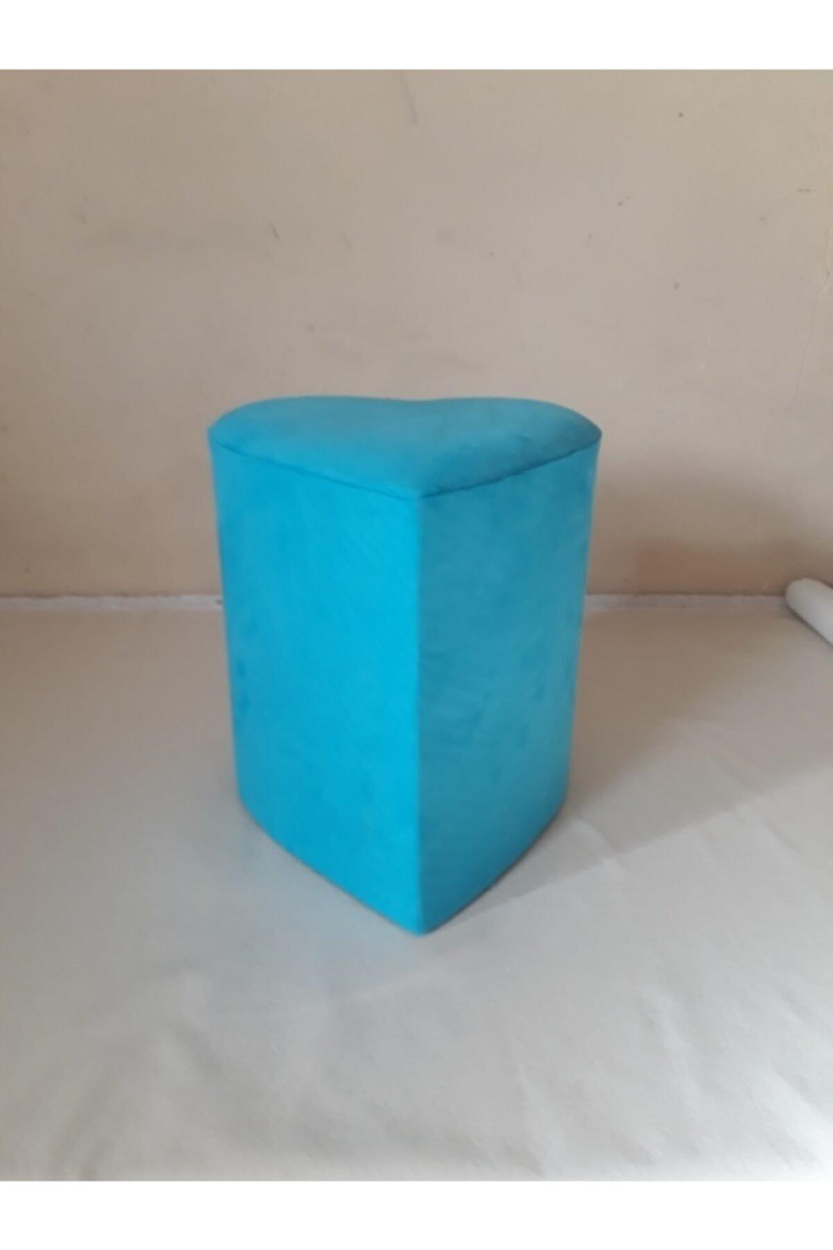 Ne-sil Kanepe & Tekstil Silinebilir Kumaş Kalpli Puf Turkuaz Renk 1