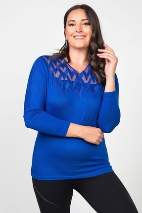 Womenice Kadın Lacivert Önü Tül Zigzag Desenli Büyük Beden Bluz