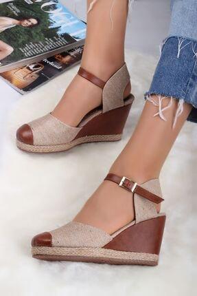 LDÇ Hasır Model Dolgu Topuk Bayan Ayakkabı-hasır