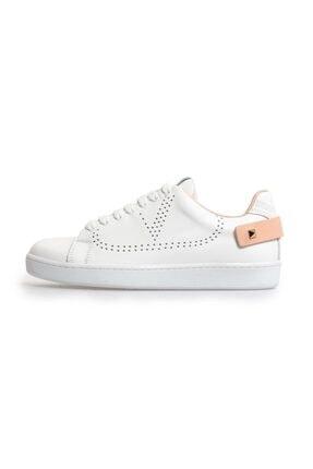Flower Beyaz Pudra Trok Detaylı Bağcıklı Sneakers
