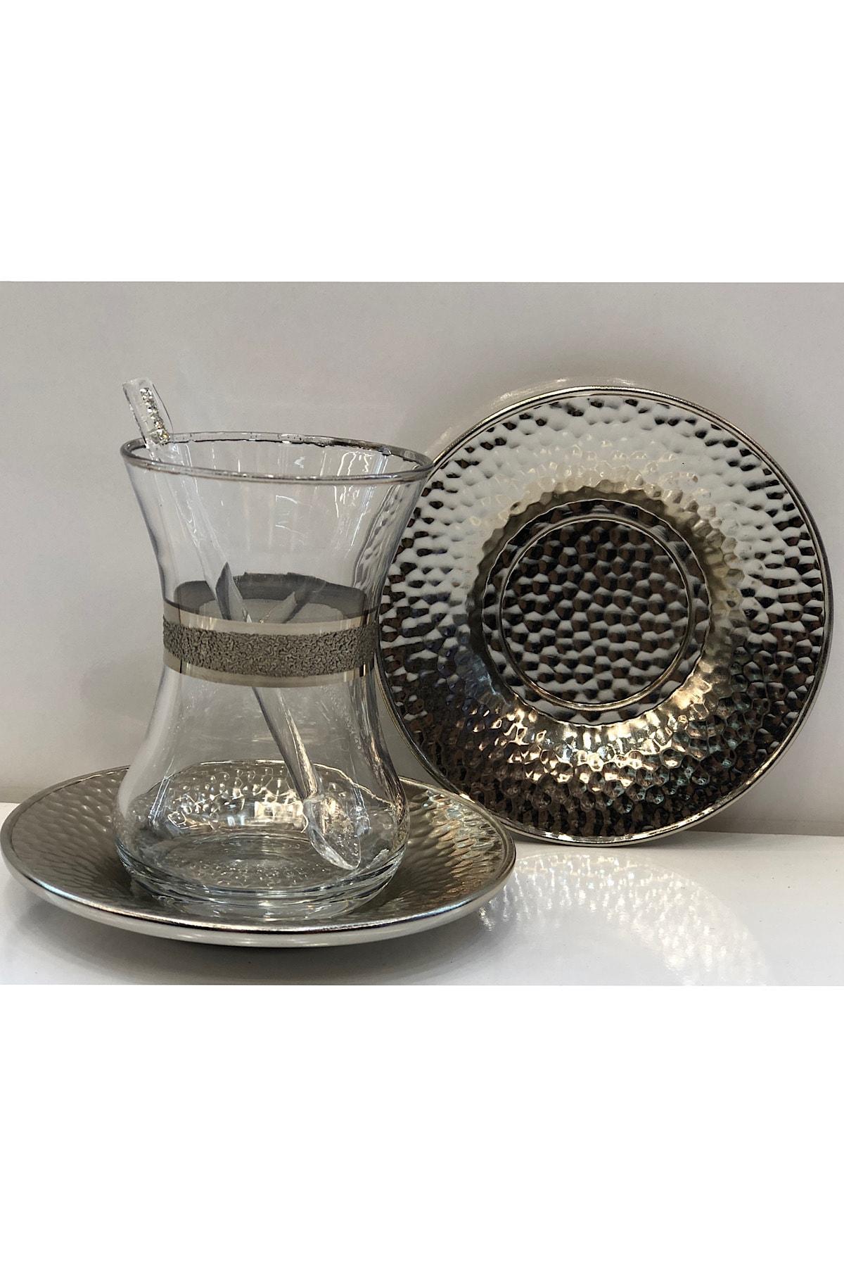 Dalgıç Çay Bardağı Seti 18 Parça Gümüş 1