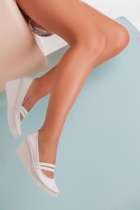 Deripabuc Hakiki Deri Beyaz Kadın Dolgu Topuklu Deri Ayakkabı Ars-0135