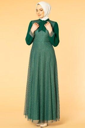 Moda Ebva Flarlı Kloş Tesettür Abiye-5007 Zümrüt Yeşili