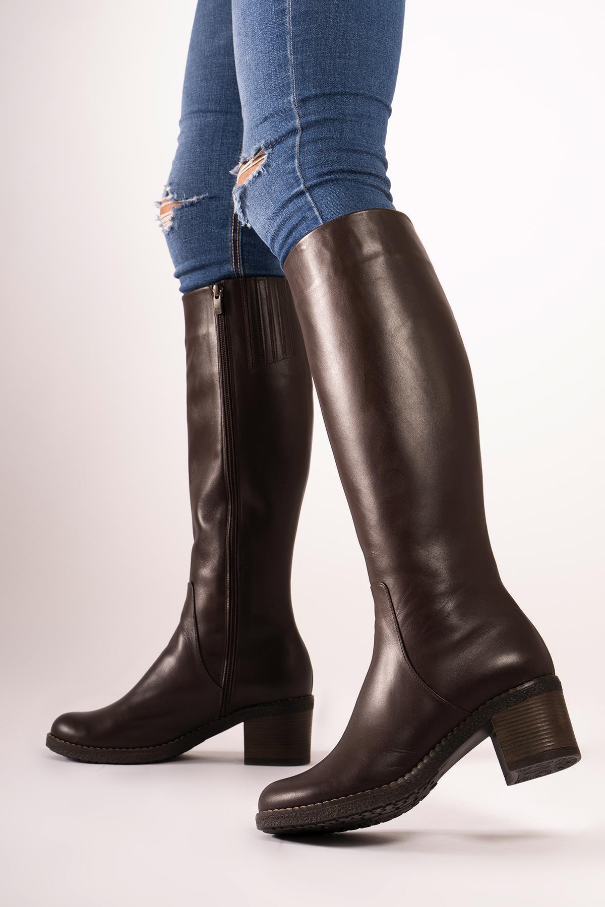CZ London Hakiki Deri Kalın Taban Topuklu Çizme Fermuarlı Kışlık Uzun Boy 2