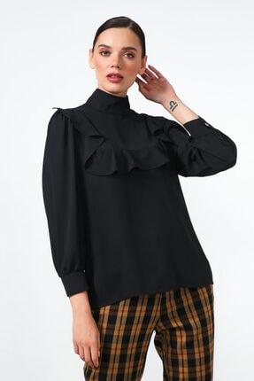 Gusto Volanlı Bluz - Siyah
