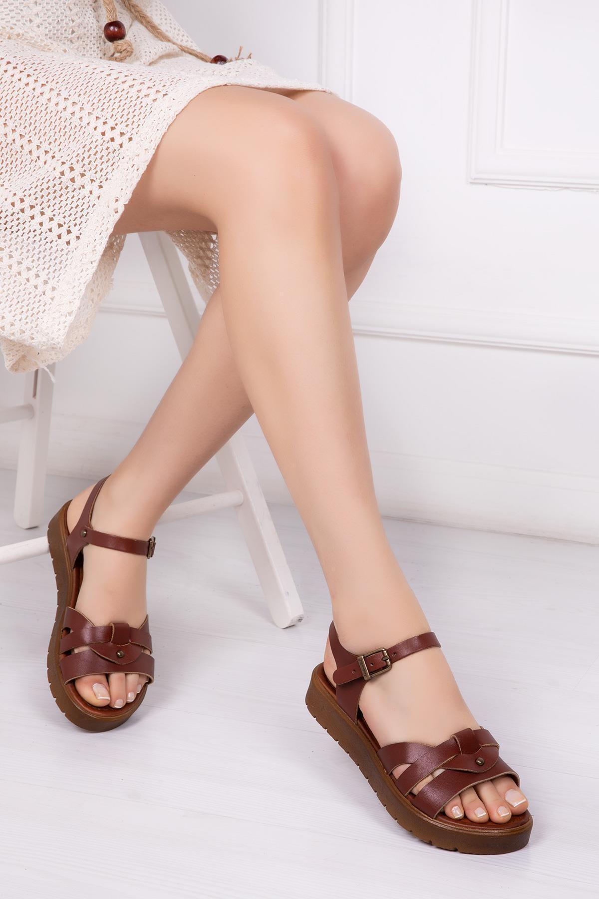 Deripabuc Hakiki Deri Kahverengi Kadın Deri Sandalet DP-1014 1
