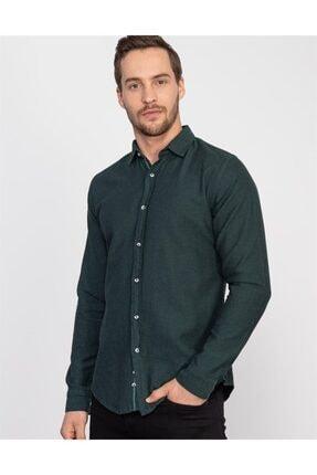 Tudors Slim Fit Yeşil Denim Erkek Gömlek