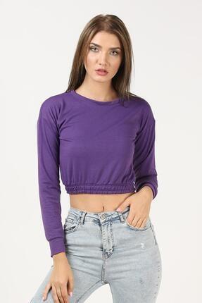 TENA MODA Kadın Mor Beli Lastikli Crop Sweatshirt