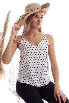 Cotton Mood 20333453 Kobe Puantiye Desenli Ip Askılı Bluz Ekru