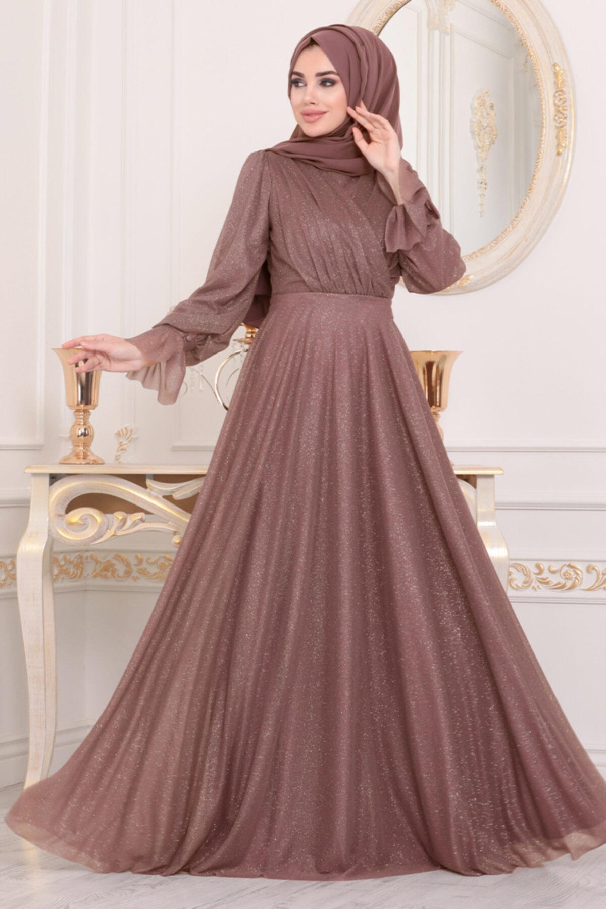 Neva Style Tesettürlü Abiye Elbiseler - Koyu Gül Kurusu Tesettür Abiye Elbise 22202kgk 1