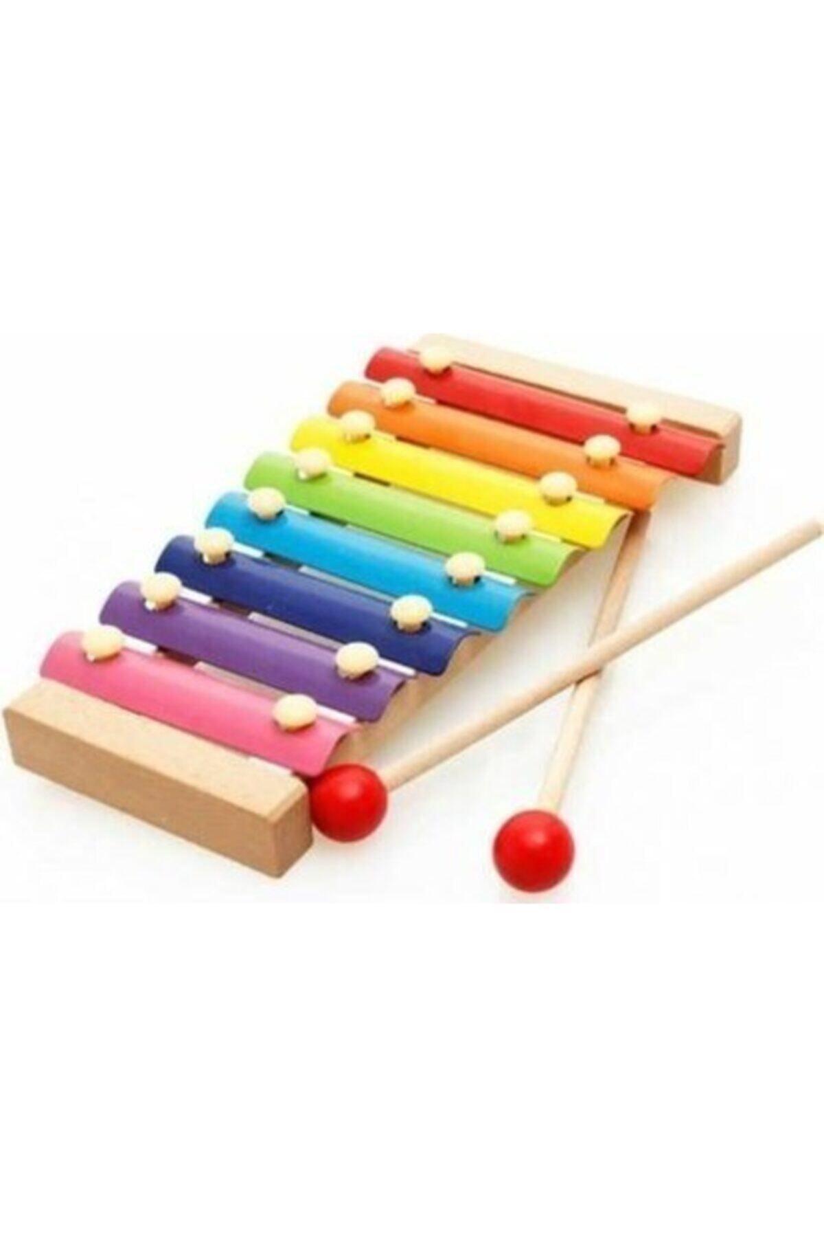 HAMAHA Wooden Toys Eğitici Ahşap Ksilofon 8 Nota 8 Ton 25 Cm 8 Tuşlu Sesli Selefon Oyuncak 1