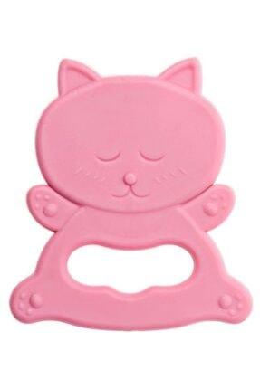 Bambino Kauçuk Yumuşak Diş Kaşıyıcı - Kedi Figürlü Pembe